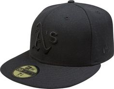 MLB Oakland Athletics Black on Black 59FIFTY Fitted Cap by New Era. $24.49. 100% Wool. 59FIFTY fitted cap in fashion color. Embroidered Team logo in raised embroidery at front. Officially licensed by Major League Baseball. 59FIFTY is the official on-field cap of Major League Baseball and is worn by every Major League Baseball player. With this fashion version of the 59FIFTY you can show your team pride with style.