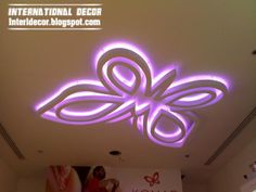 modern butterfly ceiling design for kids room, purple ceiling light