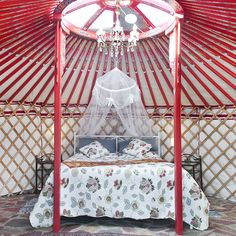 A luxury yurt in Andalusia, Spain with a pool and outdoor kitchen.