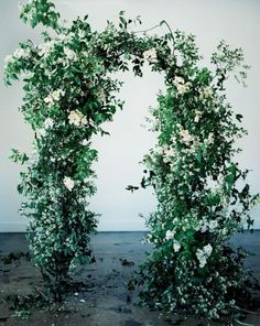 An arch of sprawling smilax vines with hints of scattered ivory spray roses