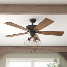 Three Posts Socorro 5 Blade LED Ceiling Fan, Light Kit Included Accessories: Standard No Remote Ceiling Fan With Remote, Led Ceiling, Ceiling Decor, Rustic Ceiling Fans, 3 Blade Ceiling Fan, Bowl Light, Cage Light, Fan Light Kits, Flush Lighting
