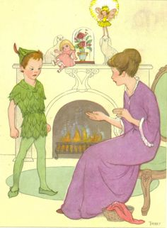 Peter Pan, Vintage Children's Print, Marjorie Torrey Illustration, Peter and Mrs. Darling
