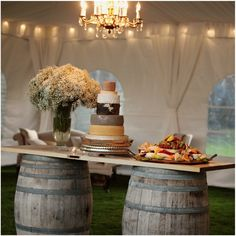 cheese display table made of wine barrels and wooden door, the cheese wedding cake Marquee Wedding, Wedding Reception, Our Wedding, Dream Wedding, Reception Ideas, Cheese Tower, Cheese Bar, Cheese Platters, Cheese Display