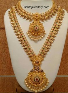 Mango Necklace and Long Haram Set by Naj jewellery, Nellore Bridal Necklace, Bridal Jewelry, Gold Jewelry, Necklace Set, Gold Bar Necklace, Gold Necklaces, Gold Earrings Designs, Necklace Designs, Gold Haram Designs