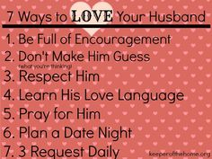 7 Ways to LOVE your Husband - Keeper of the Home