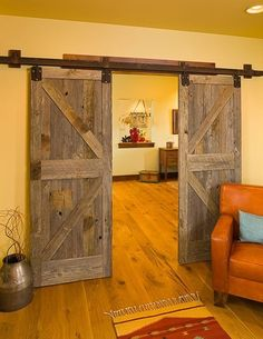 I like this idea of sliding wood doors