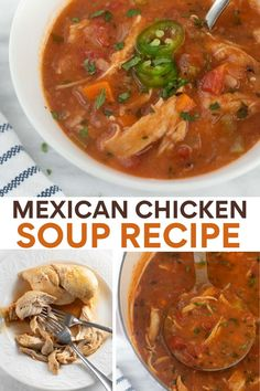 Mexican chicken soup combines fresh ingredients with a delicious blend of spices. Make this recipe for a comfort food meal in under an hour! A naturally gluten-free, dairy-free soup! Best Mexican Recipes, Best Gluten Free Recipes, Gluten Free Recipes For Dinner, Chicken Soup Recipes, Healthy Soup Recipes, Chili Recipes, Mexican Chicken Stew, Dairy Free Soup, Soup And Sandwich