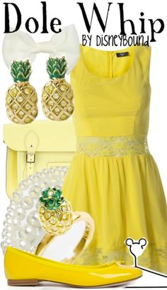 DisneyBound Dole Whip. If I could wear yellow without looking dead, I would so wear this.