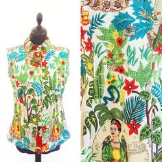 SOLD OUT - Frida Kahlo Top - Frida Kahlo button up - Woman Shirt Frida Kahlo Fashion - Mexican -Fruit Punch - button up for women