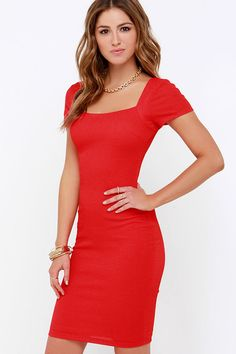 Photo Opportunist Coral Red Bodycon Midi Dress at Lulus.com!