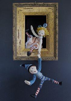 Jack and Jill--sculpted figure/doll in shadowbox. FriedericyDolls via Etsy. Jack Y Jill, Nuno Felt Scarf, Felted Scarf, Shadow Box Art, Paperclay, Assemblage Art, Nuno Felting, Felt Art, Felt Flowers