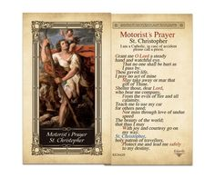 Laminated Holy Cards : Motorist's Prayer St. Christopher Laminated Holy Card