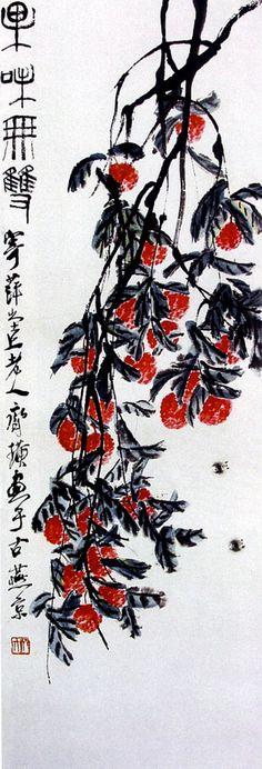 齊白石 - 果味無雙 Qi Baishi Japanese Art Prints, Japanese Painting, Asian Artwork, Dungeons And Dragons Characters, Embroidery Works, China Art, China Painting, Texture Art, Watercolor And Ink