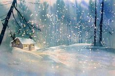 'Cottage in the Snow' Greeting Card by Glenn Marshall Watercolor Christmas Cards, Painting Snow, Snow Scenes, Affordable Art, Handmade Christmas, Painting Inspiration, Greeting Cards, Cottage, Pretty