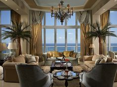 Beach view tropical living room decorating ideas