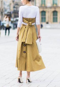 Paris Fashion Week Haute Couture street style: Khaki dress