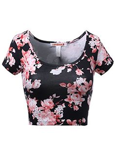 Floral Scoop Neck Slim Fit Short Sleeve Crop Tops Pink Size S *** Read more  at the image link.