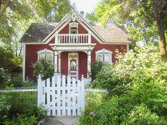 Tiny house home cabin cottage via Angela Axiarlis Cute Cottage, Red Cottage, Cottage Living, Cottage Homes, Cottage Style, Victorian Cottage, Little Cottages, Small Cottages, Cabins And Cottages