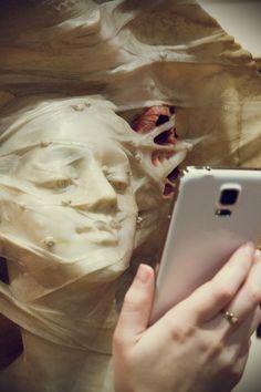 Nieokreślony artysta włoski, Portret kobiety w kapeluszu z woalką #museumselfie