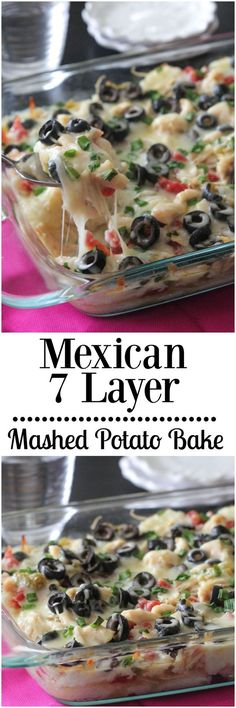 Mexican 7 Layer Mashed Potato Bake!  This is a family favorite all year round. @Old El Paso