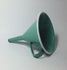 Vintage Enamelware Green Funnel with handle & white