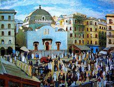 Peinture d'Algérie - Peintre Français, Charles BROUTY(1897-1984), Huile sur toile, Titre: La Synagogue de la Place Randon, Alger.