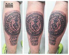 Escudo Barça. Efecto piedra. Tattoo en Badabink Valencia Tattoo. + Info en el 666852293 (Whatsapp). Valencia.