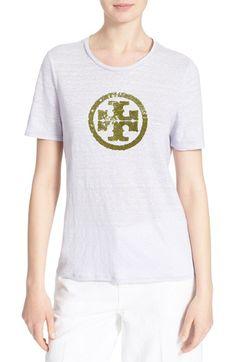 TORY BURCH 'Demi' Sequin Logo Linen Tee. #toryburch #cloth #
