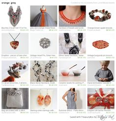 Orange Grey by LoraViBeadJewelry includes our vintage heart pin!  http://etsy.me/1FN0URJ via @Etsy