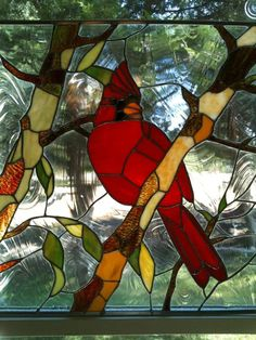Beautifully done - stained glass cardinal.