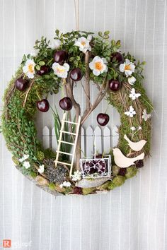 "Door wreaths - door wreath summer ""cherry tree"" - a designer piece by Rotkopf-des ., Door wreaths - door wreath summer ""cherry tree"" - a unique product by Rotkopf-design on DaWanda. Easter Wreaths, Holiday Wreaths, Christmas Decorations, Wreath Crafts, Diy Wreath, Grapevine Wreath, Small Wreath, Spring Front Door Wreaths, Summer Wreath"