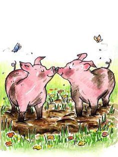 Spring is in the air Hog pig love mud butterflies friends kiss