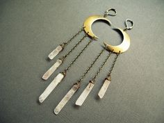 Rose Quartz Earrings / Pink Crystal Earrings / Bohemian Jewelry / Crescent Moon Earrings / Rose Quartz Crystal Earrings / Chrysalism