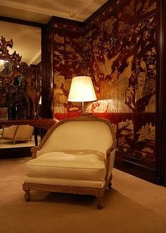 Coco Chanel's apartment. Coromandel Screens. Chair she was sitting in when Horst photgraphed her.