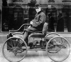 Henry Ford, (July 30, 1863 – April 7, 1947), American industrialist, founder of the Ford Motor Company, and sponsor of the development of the assembly line technique of mass production.  Seated in his first experimental Quadracycle, 1896.