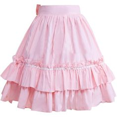 Partiss Women's Ruffles and Bow Lolita Skirt ($35) ❤ liked on Polyvore featuring skirts, pink, frilly skirt, wide skirt, pink skirt, frilled skirt and pink bow skirt