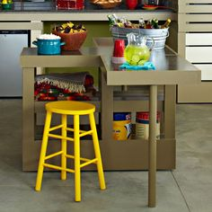 Serving Cart and Workbench - Lowe's Creative Ideas - This would be great for a craft space, too!