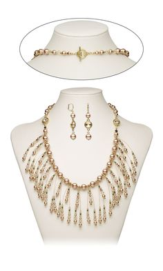 Jewelry Design - Bib-Style Necklace and Earring Set with Swarovski Crystal, Gold-Plated Brass Beads and Accu-Flex® Beading Wire - Fire Mountain Gems and Beads