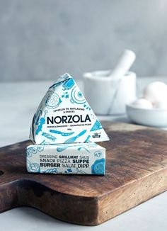 """""""Norzola"""" by Dinamo Design (Cheese Packaging) Dairy Packaging, Cheese Packaging, Milk Packaging, Food Packaging Design, Cute Packaging, Packaging Design Inspiration, Brand Packaging, Chocolate Packaging, Coffee Packaging"""