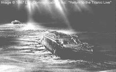 An artist's rendering of the Titanic & her debris field today. The ocean floor where she lays. Titanic Wreck, Real Titanic, Titanic Sinking, Titanic Ship, Titanic Deaths, Belfast, Morgue Photos, Titanic Artifacts, Liverpool
