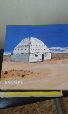 Korbeelhouse in the Karoo (near Fraserburg) , South Africa. Oil paint on canvas. Artist is Charl Blignaut (Blikkies). 2015