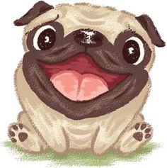 Feliz Pug - ilustração de arte em vetor