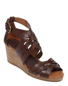 Lucky Brand Kalistoga Brown Leather Strappy Open Toe Wedge Sandals #LuckyBrand #Kalistoga