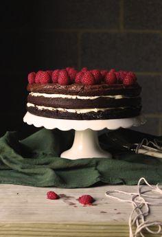 Birthday brownie cake with raspberries – chocolate and raspberries, one of my favorite combos!
