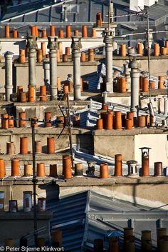 Paris rooftops by Klinkvort, via Flickr
