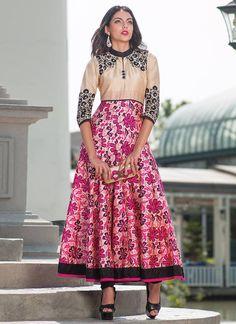 Printed Pure Silk Anarkali Suit