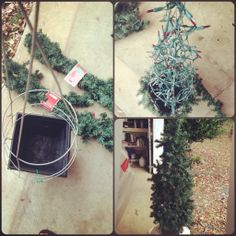 #CHRISTmas #DIY flower planter, tomato plant stand, CHRISTmas lights, garland, ties.  attached tomato plant stand to flower planter, string lights throughtout, wrap with garland, decorate to your liking. LOVE!!
