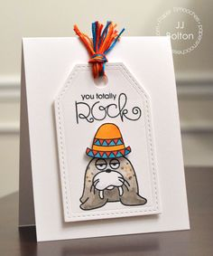 Card by PS DT JJ Bolton using PS Gift Tags 2, Chilly Chums, Noggin Toppers, Uplifters