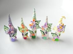 Miniature fairy village in green, yellow, lilac and orange polymer clay by fizzyclaret