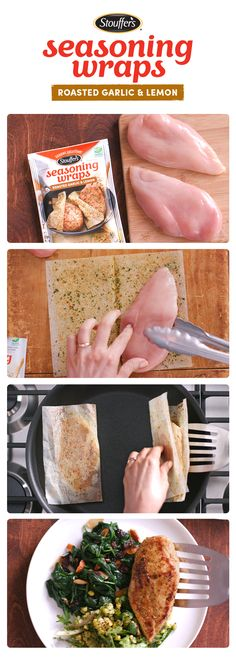 Who says making restaurant-quality food means spending hours grocery shopping? Stouffer's Roasted Garlic & Lemon Seasoning Wraps are the perfect way to keep dinner delicious and grocery lists short. Just wrap each chicken breast in a Seasoning Sheet and I Love Food, Good Food, Yummy Food, Tasty, Low Carb Recipes, Cooking Recipes, Cooking Tips, Great Recipes, Favorite Recipes